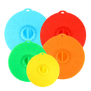 Aspire Set of 5 Colorful Food Covers, Silicon Suction Lids, Reusable Seal Covers for Bowls, Pots, Cups
