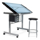 Studio Designs 10055 Vision 2 Piece Craft Center with Drawing Table and Stool in Silver/Blue Glass
