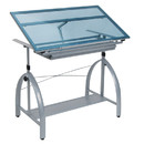 Studio Designs 10060 Avanta Metal and Glass Height Adjustable Drafting Desk in Silver/Blue Glass