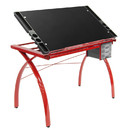 Studio Designs 10076 Futura Craft and Drawing Station with Adjustable Top and Storage in Red/Black Glass
