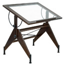 Studio Designs 13310 Aries Glass Top Drafting Table Sonoma Brown/Clear Glass