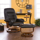 SEI UP1303RC Black Leather Recliner and Ottoman