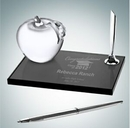 Custom Smoke Glass Pen Set W/ Molten Glass Apple, 3 1/2