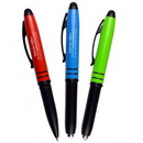 Custom Metal Matte Colored Three-In-One Stylus, Flashlight and Ballpoint Pen