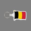 Key Ring & Full Color Punch Tag W/ Tab - Flag of Belgium