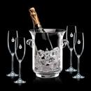 Custom Lyndhurst Crystalline Champagne Bucket W/ 4 Flutes