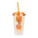 Custom WGG! The Infuser Double Walled w/Straw - 16oz Orange, 4.0