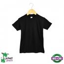 Black Toddler Short Sleeve Poly Cotton T-Shirt w/Crew Neck