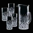 Custom 30 Oz. Crystal Denby Pitcher with 4 Hiball Glasses
