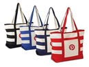 Custom Large Cotton Canvas Beach Tote with Colored Stripes & Handles & Zippered Closure, 21