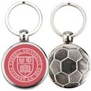 Custom Sport Metal Printed Silver Tone Key Tags with Soccer Ball Impression, 1.375