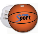 Custom Stock Basketball Design Luggage Tag Full Color front imprint, Write-on ID panels on back, 4.813