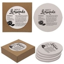 Custom Round Absorbent Stone Coaster 4 Pack, 4 3/8
