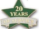 Custom 20 Years of Service Pin