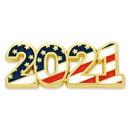Custom 2021 Patriotic Year Pin, 1 1/8