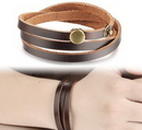 Custom Leather Bracelet with Snap Closure, 7 7/8