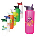 Custom 32 oz. Sports Bottle with Straw Cap Lid, Full Color Digital, 9 9/16