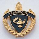 Blank Fully Modeled Epoxy Enameled Scholastic Award Pins (Teamwork), 7/8