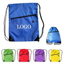Custom 210D Polyester Sports Drawstring Pack With Front Zipper, 13 /12