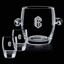 Custom Crystal Belfast Ice Bucket with 2 On the Rocks Glasses