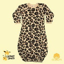 Custom The Laughing Giraffe Long Sleeve Cotton Infant Sleeper Gown - Tan Leopard Print