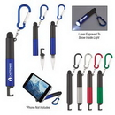 Custom 4-In-1 Light Up Stylus Pen With Carabiner, 6