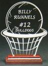 Custom Basketball's Best Award on a Rosewood Base - Acrylic (7 3/8