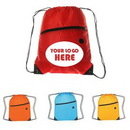 Custom Polyester Drawstring Backpack W/ Zipper, 13