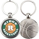 Custom Sport Metal Printed Silver Tone Key Tags with Basketball Impression, 1.375