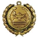 Custom Stock Lamp of Knowledge Medal w/ Wreath Edge (1 1/2