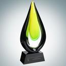 Custom Art Glass Goldfinch Award with Black Base (L), 13 1/2