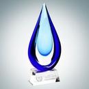 Custom Art Glass Aquatic Award with Clear Base (L), 13 1/2