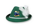Forest Green Vel-Felt Alpine Hat w/ Custom Shaped Faux Leather Icon