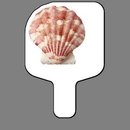 Custom Hand Held Fan W/ Full Color Calico Scallop Seashell, 7 1/2