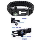 Custom Multi-functional Paracord Bracelet with Compass and Whistle, 9 4/5