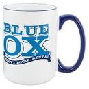 Custom 15 Oz. White Heartland El Grande Ceramic Mug W/ Cobalt Trim