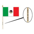 Polyester Mexican Flag w/ Custom Direct Pad Print on the Wooden Stick, 18