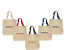 Custom Cotton Canvas Tote Bag With Contrast Colored Webbed Handles
