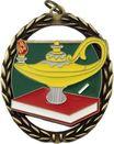 Custom Negative Space Lamp Of Knowledge Medal, 2 3/8