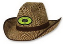 2-Tone Western Hat w/ Brown Trim & Band w/ Custom Shaped Faux Leather Icon