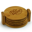 Custom Round Bamboo Coaster Set, 3 7/8