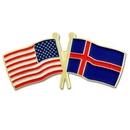 Custom Usa & Iceland Flag Pin, 1 1/8
