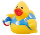 Custom Rubber Beach Party Duck w/ Ball, 3 1/2