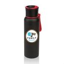 Custom The Hurdler Black S/S Sports Bottle - 25oz Red, 2.875