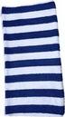 Custom Terry Loop Cabana Stripe Beach Towel (15 Lb./ Dozen) Navy Blue Stripes, 34
