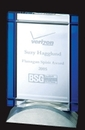 Custom Optical Crystal Deco Blue Desktop Award
