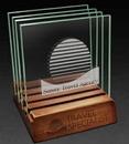 Custom 4 Piece Square Jade Glass Coasters w/ Wood Base