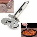 Custom Double slider wheel stainless steel pizza cutter, 6 11/16