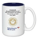 Custom 15 Oz. Full Color Sublimation 2 Tone Ceramic Mug, 4 1/2