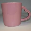 Custom Pink Ceramic Mug With Pink Heart Handle, 3 7/8
